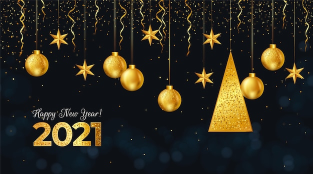 New year 2021 background with realistic golden decoration Free Vector