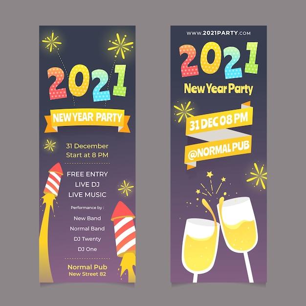 Новый год 2021 баннеры фейерверк и шампанское Premium векторы