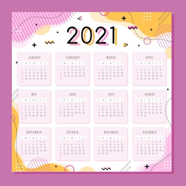 평면 디자인의 새 해 2021 달력 무료 벡터