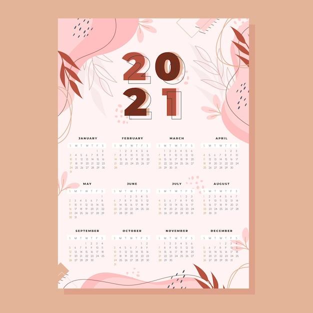 Новогодний календарь на 2021 год в плоском дизайне Premium векторы