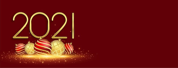 クリスマスボールと新年2021年のお祝いのバナー 無料ベクター