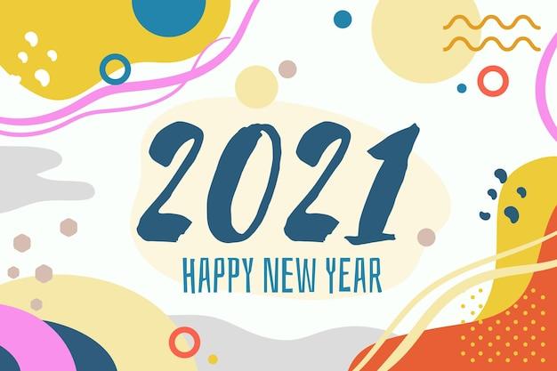 Новый год 2021 плоский дизайн мемфис стиль фона Бесплатные векторы