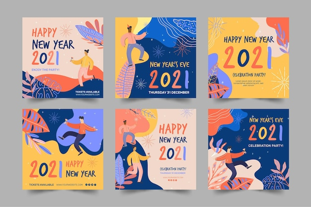 New year 2021 ig post collection Premium Vector