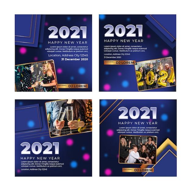 Nuovo anno 2021 ig post raccolta Vettore gratuito