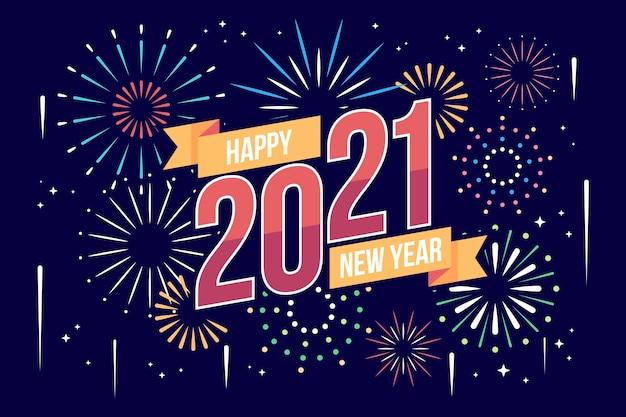 Новый год 2021 в плоском дизайне Premium векторы