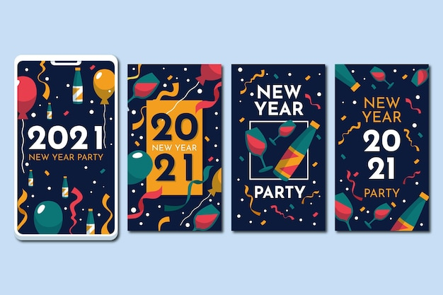 New year 2021 instagram stories with glasses Free Vector