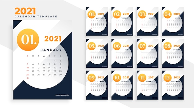 New year 2021 modern calendar template design pages Free Vector