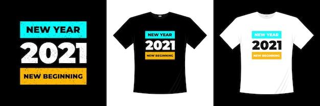 Новый год 2021 новое начало типографика дизайн футболки Premium векторы