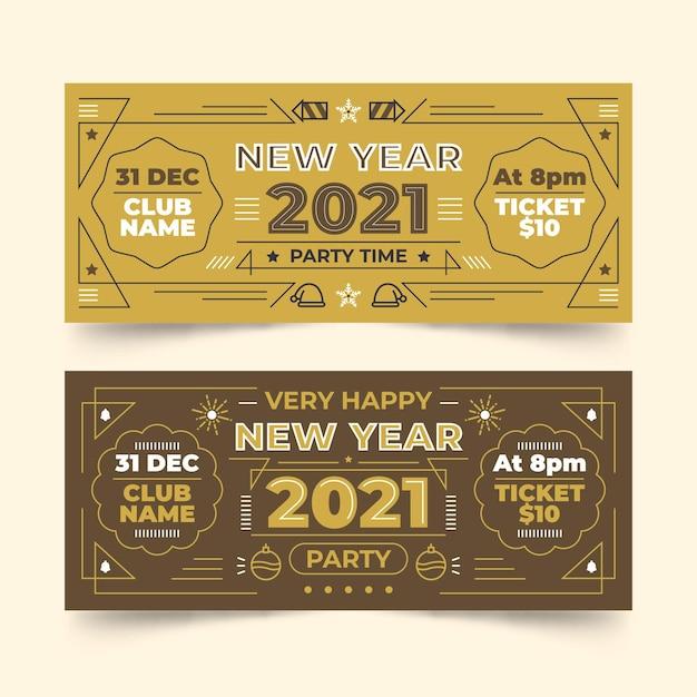 Banner festa di capodanno 2021 in design piatto Vettore gratuito
