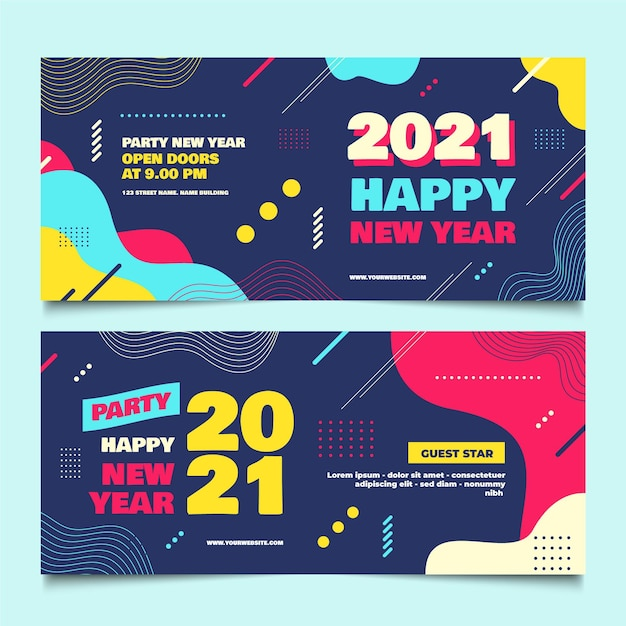 New year 2021 party banners in flat design Free Vector