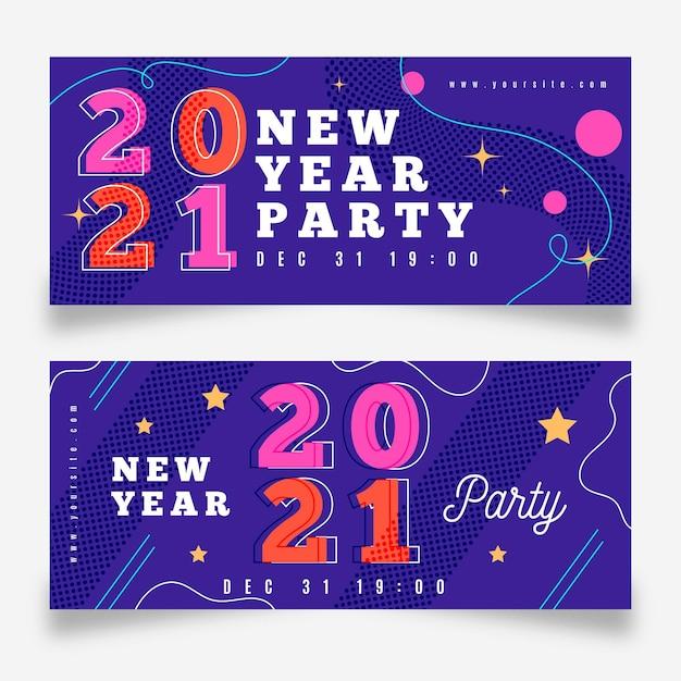 Новогодние баннеры 2021 года в плоском дизайне Бесплатные векторы