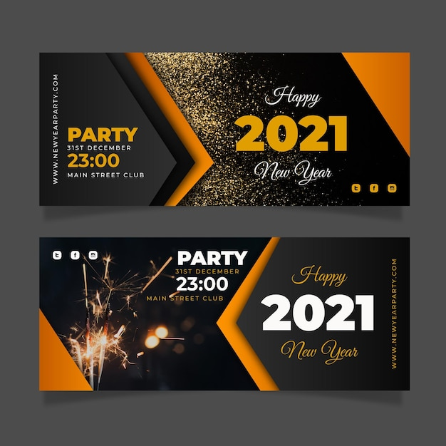 Premium Vector New Year 2021 Party Banners Template