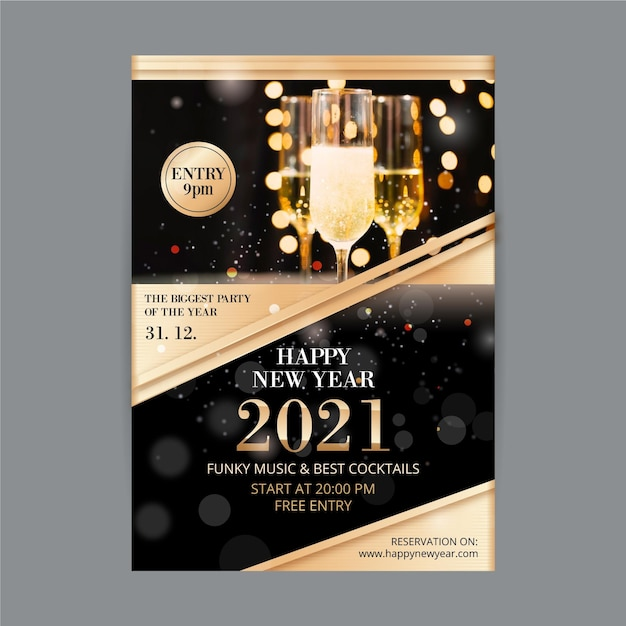 New year 2021 party flyer glasses filled with champagne Free Vector