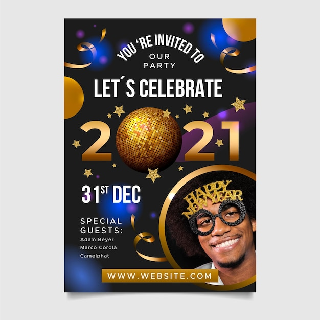 New year 2021 party flyer with balloons Free Vector