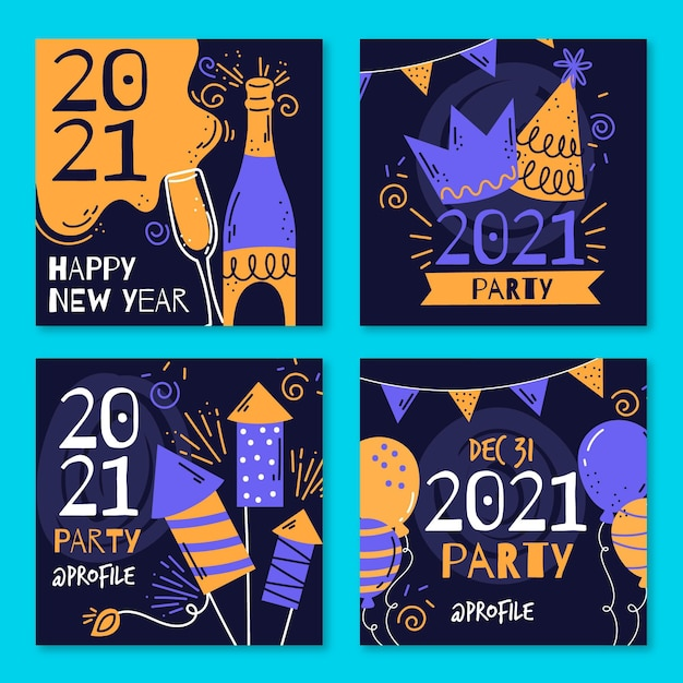 New year 2021 party instagram posts Free Vector
