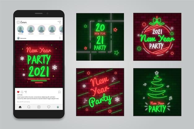 Post di instagram per feste di capodanno 2021 Vettore gratuito