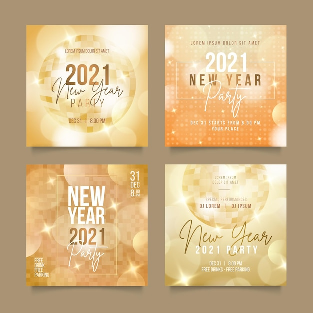 Новогодняя вечеринка 2021 в instagram Бесплатные векторы