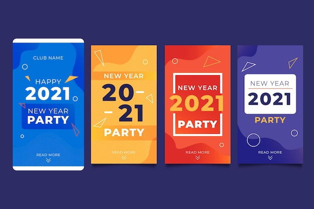New year 2021 party instagram stories collection Free Vector