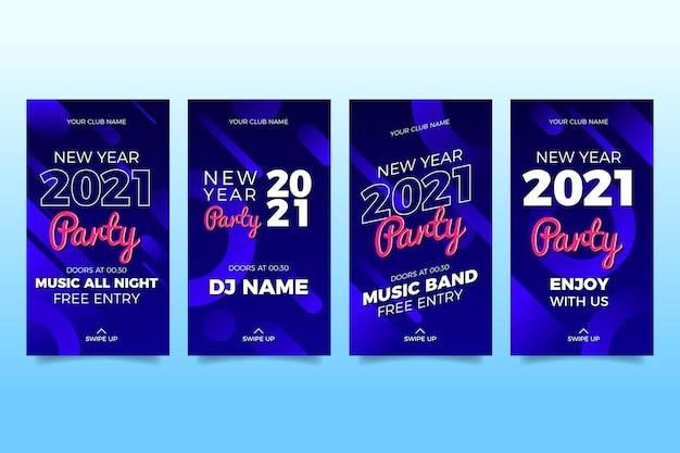 Коллекция историй instagram новогодняя вечеринка 2021 Бесплатные векторы