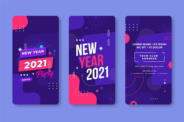 New year 2021 party instagram stories set Free Vector