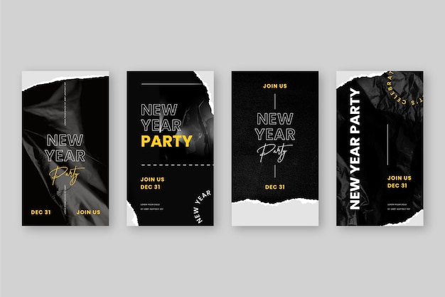 New year 2021 party instagram stories Free Vector
