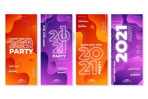新年2021年パーティーインスタグラムストーリーコレクション Premiumベクター