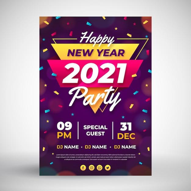 Modello di poster festa di capodanno 2021 in design piatto Vettore gratuito