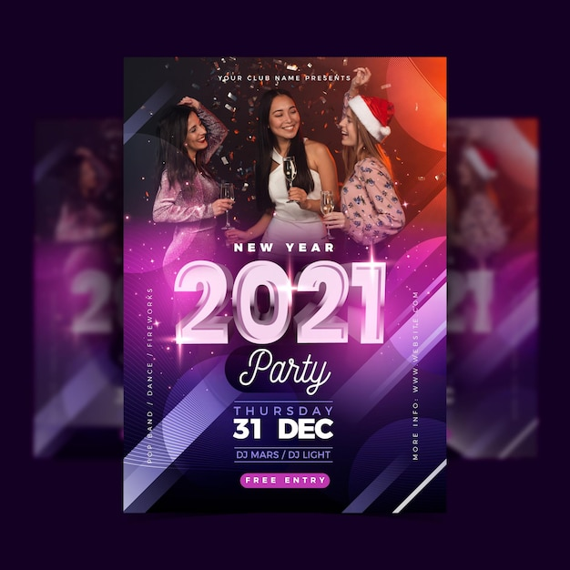 New year 2021 party poster template with photo Free Vector