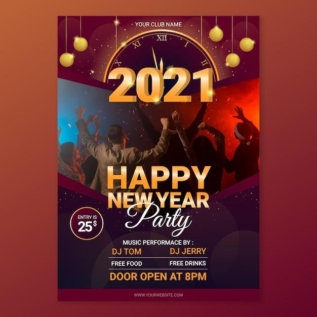 Шаблон плаката вечеринки новый год 2021 Premium векторы