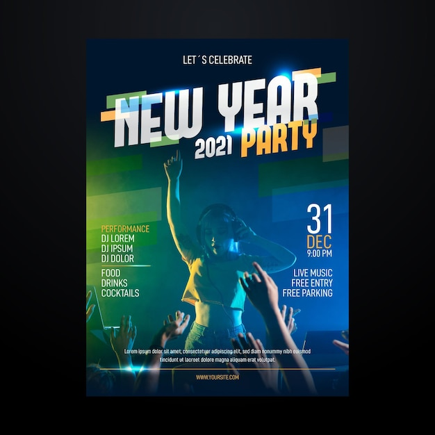 New year 2021 party poster template Free Vector