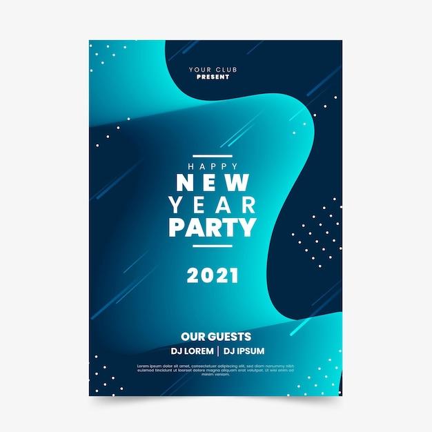 Шаблон плаката вечеринки новый год 2021 Бесплатные векторы