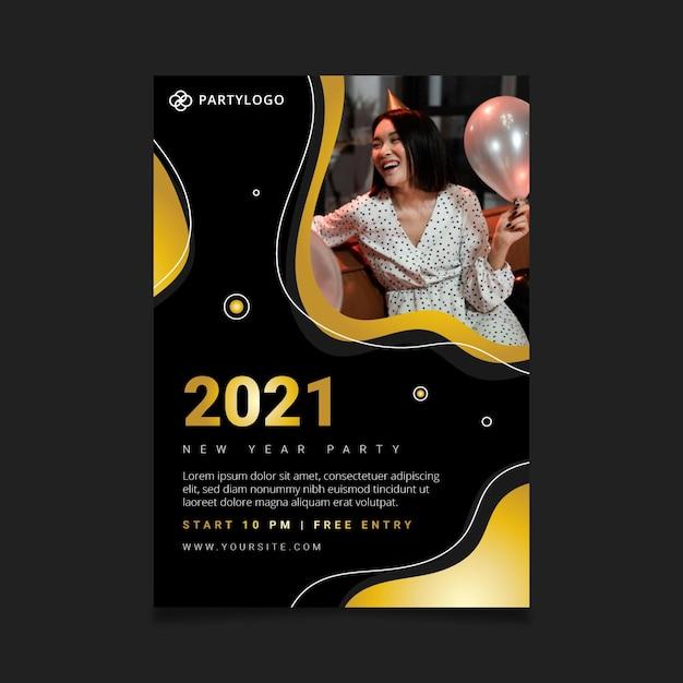 Шаблон новогоднего плаката 2021 Бесплатные векторы