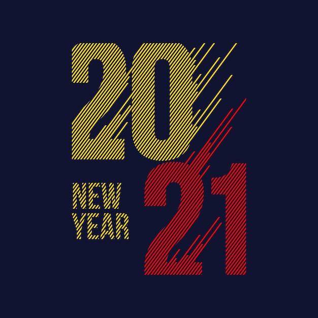 Новый год 2021 типографика Premium векторы