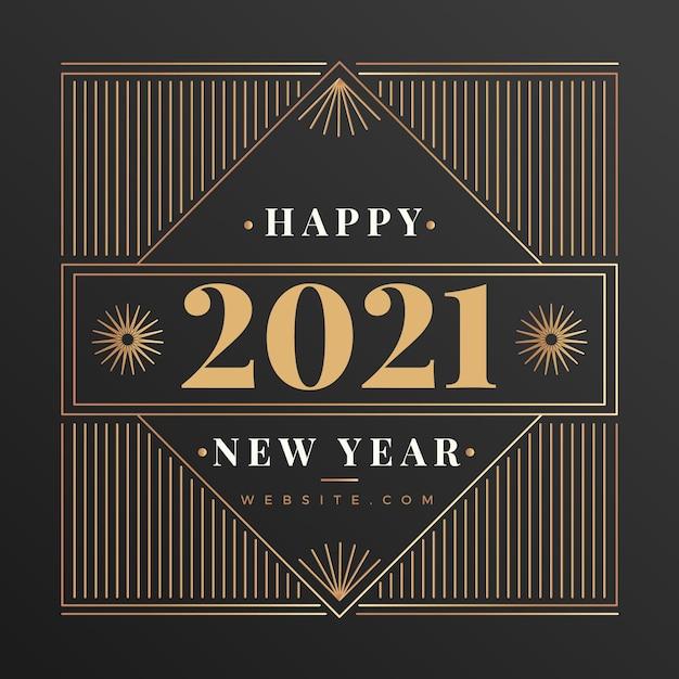 Sfondo vintage di nuovo anno 2021 Vettore gratuito