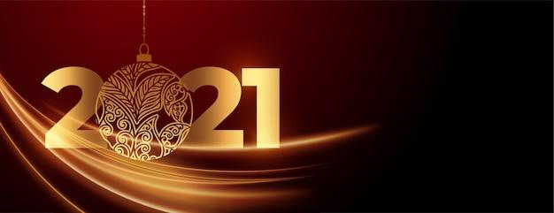 安物の宝石のお祝いのバナーで2021年の新年 無料ベクター