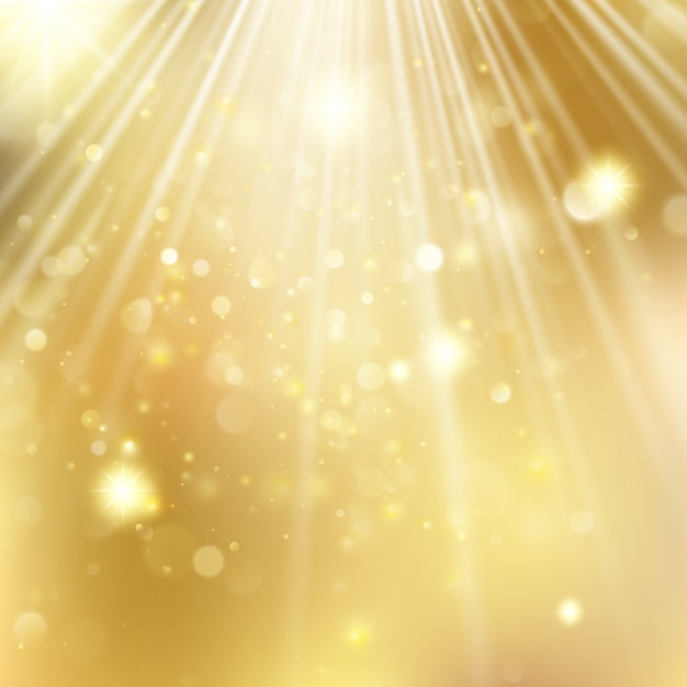 新年とクリスマスの星が点滅している背景をデフォーカスしました。 Premiumベクター