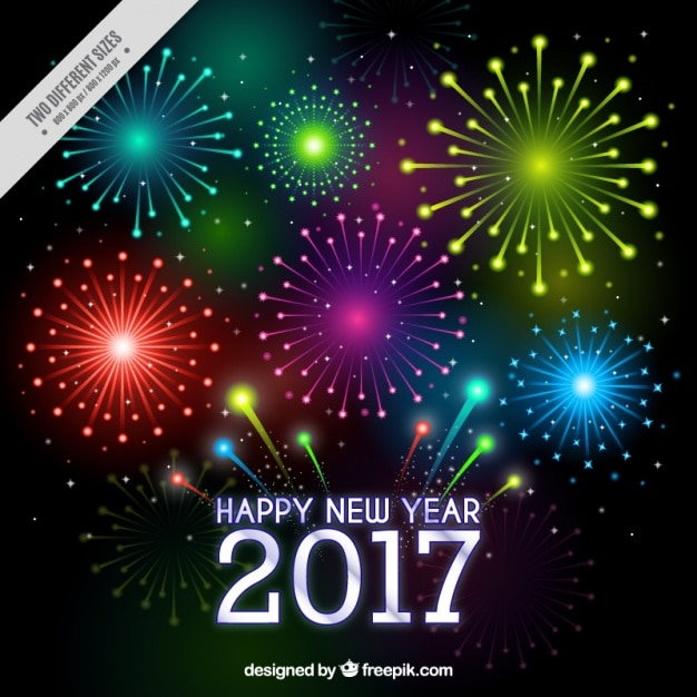 New year background 2017 of colorful fireworks | Free Vector