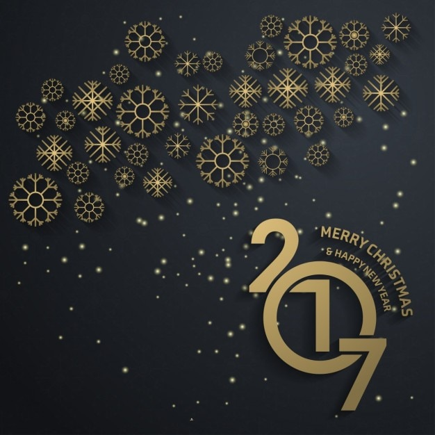 New year background 2017 with golden snowflakes Free Vector