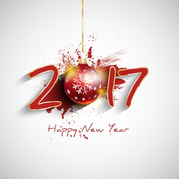 New year background, christmas ball Free Vector