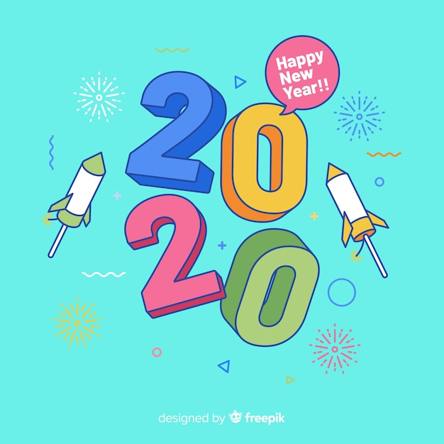 New year background in flat design Free Vector