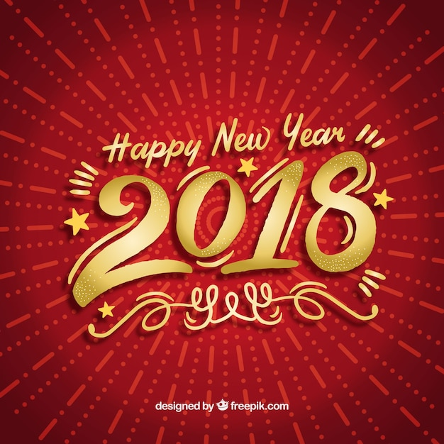 new year background in red and golden free vector