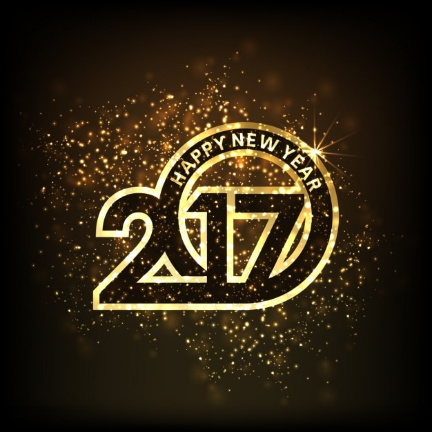 New year background, luxury numbers Free Vector