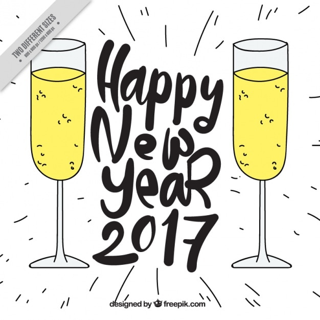 new year background of champagne glasses sketches