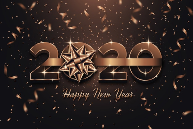 New year background theme with gift bow Free Vector