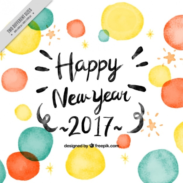 New year background of watercolor circles Free Vector