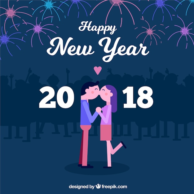 new year background with a couple kissing free vector