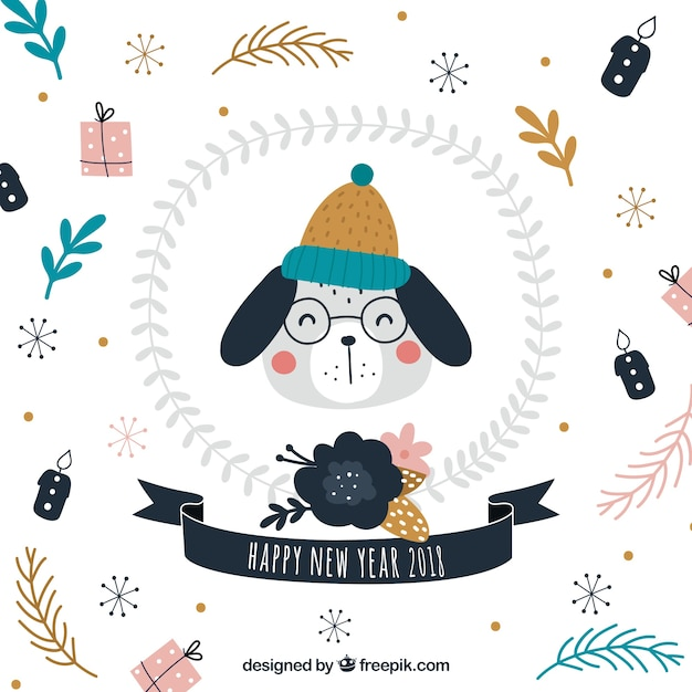 new year background with a cute dog wearing hat and glasses free vector