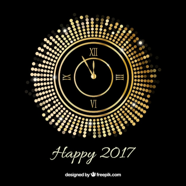 new year background with a golden clock free vector