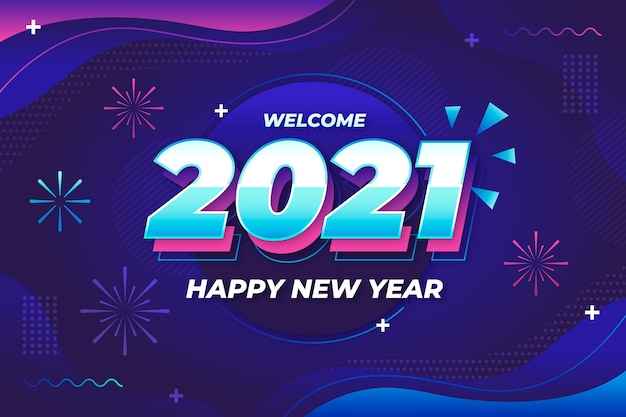 New year background with abstract fireworks Free Vector