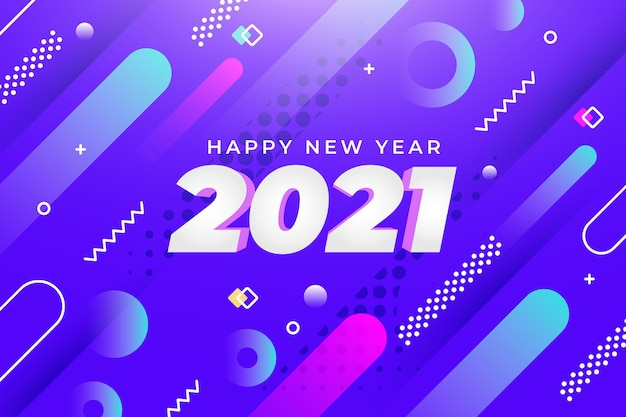 New year background with abstract shapes Free Vector